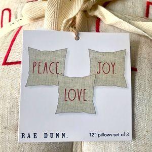 Rae Dunn PEACE LOVE JOY Pillow Set of 3 NWT